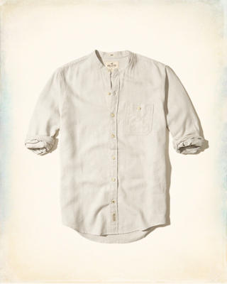 Banded Collar Linen Shirt
