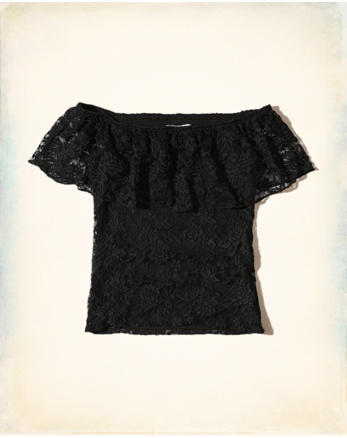 hol Ruffle Lace Off-The-Shoulder Top