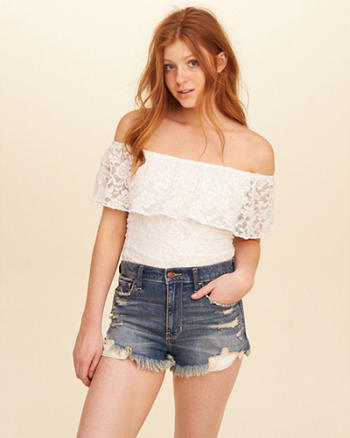 Ruffle Lace Off-The-Shoulder Top