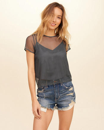 Mesh Overlay Cami Crop Top
