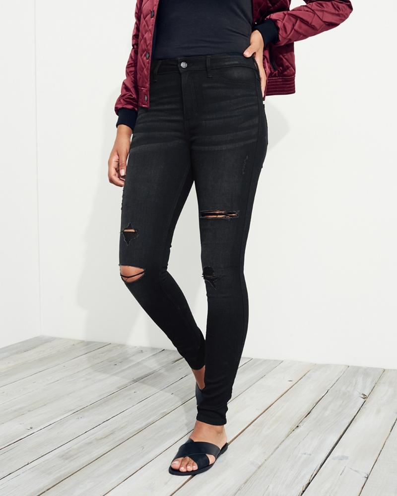 Jet black high waist skinny jeans