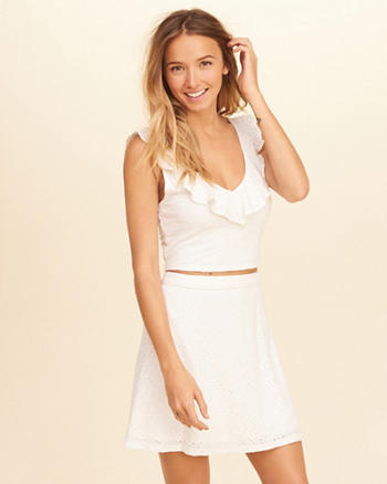 Ruffle Eyelet Crop Top