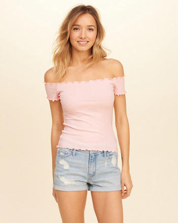 Ribbed Slim Off-The-Shoulder Top