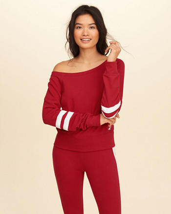 Stripe Off-The-Shoulder Sweatshirt
