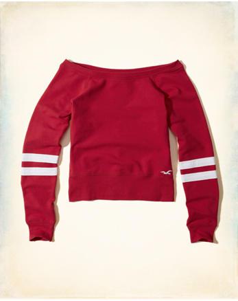hol Stripe Off-The-Shoulder Sweatshirt