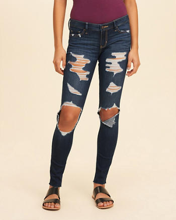 Shredded Low-Rise Super Skinny Jeans