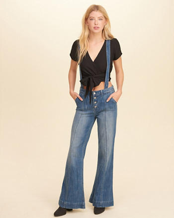 Wide-Leg Denim Suspender Overalls
