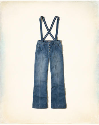 hol Wide-Leg Denim Suspender Overalls