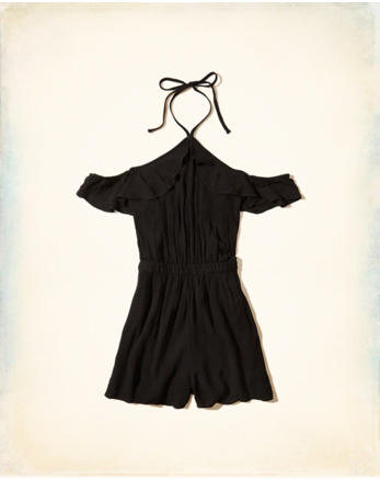 hol Ruffle Cold Shoulder Romper