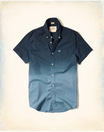 hol Stretch Short-Sleeve Dip-Dye Poplin Shirt