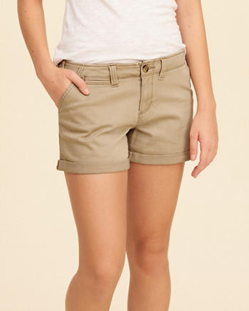Low-Rise Twill Midi Shorts