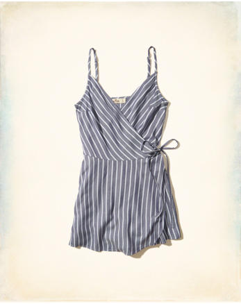 hol Woven Wrap-Front Romper