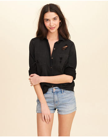hol Distressed Woven Shirt