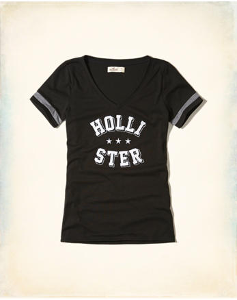 hol Slim V-Neck Graphic Tee