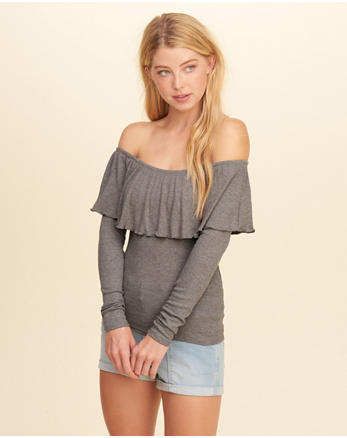 hol Ruffle Off-The-Shoulder Top