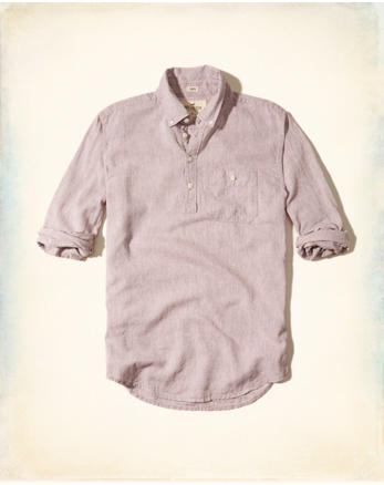 hol Textured Linen Popover Shirt