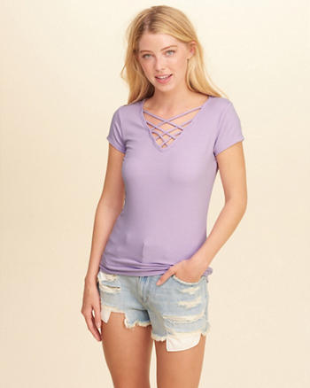 Strappy V-Neck T-Shirt