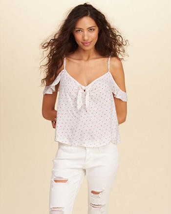 Tie-Front Cold Shoulder Top