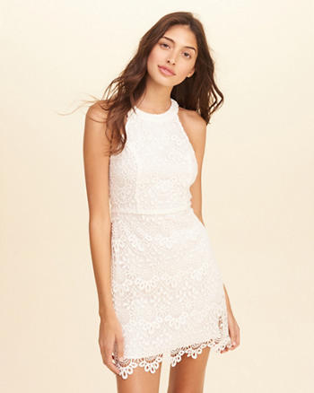High-Neck Lace Bodycon Dress