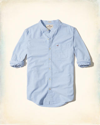 Banded Collar Stretch Oxford Shirt