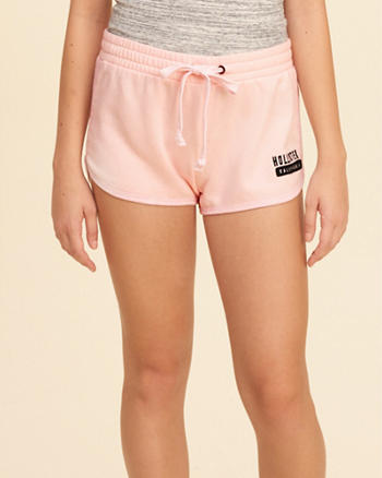 Curved Hem Fleece Shorts