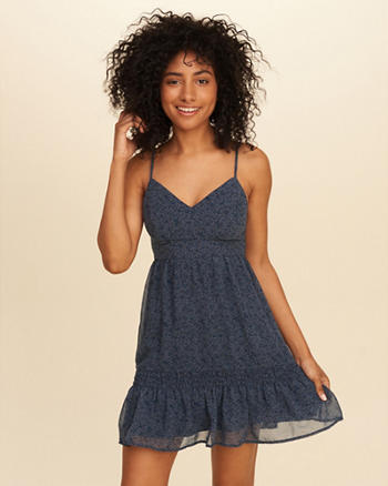 Ruffle Hem Chiffon Dress