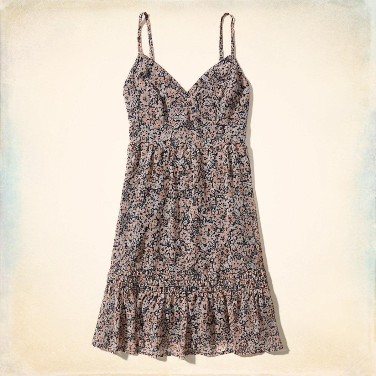 Ruffle Hem Chiffon Dress