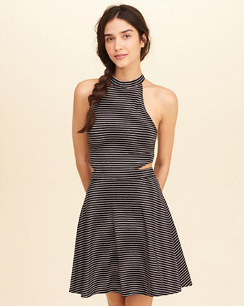 High-Neck Cutout Skater Dress