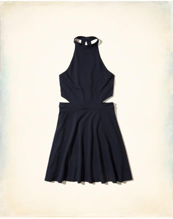 hol High-Neck Cutout Skater Dress