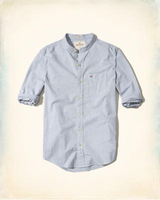 Banded Collar Stretch Poplin Shirt