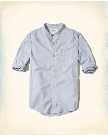 hol Banded Collar Stretch Poplin Shirt