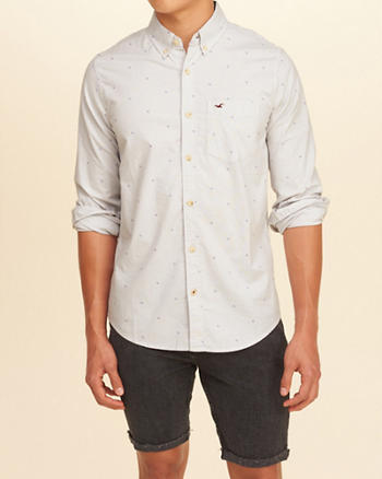 Stretch Patterned Poplin Shirt