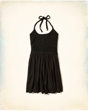 hol Crochet Halter Dress