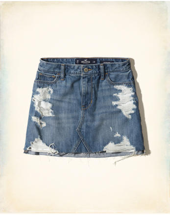 hol High-Rise Denim Skirt