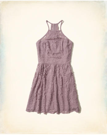 hol High-Neck Lace Dress