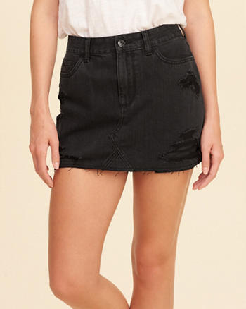 High-Rise Denim Skirt
