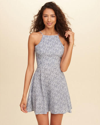 Lace-Up Woven Skater Dress