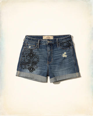 High-Rise Denim Boyfriend Shorts