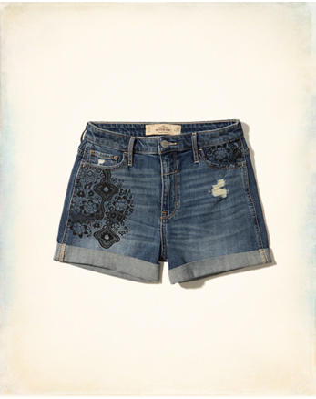 hol High-Rise Denim Boyfriend Shorts