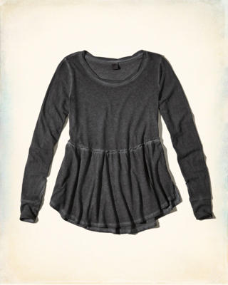 Garment-Dyed Peplum Top