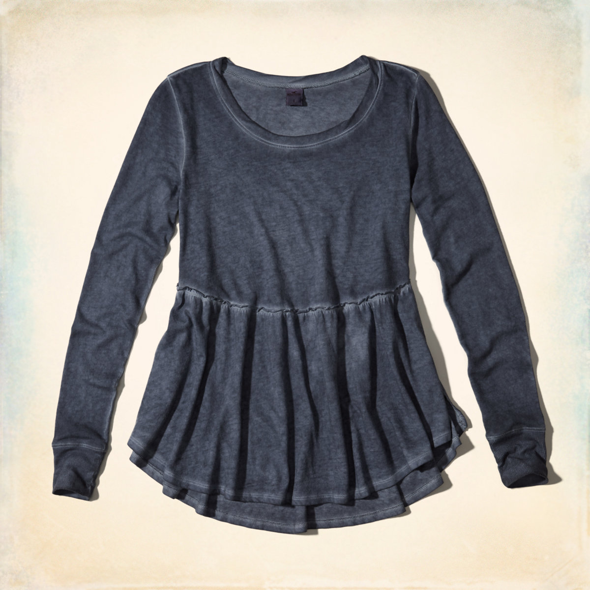 Garment-Dyed Peplum Top