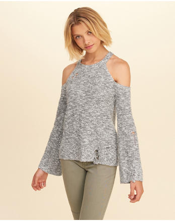 hol Distressed Cold Shoulder Sweater