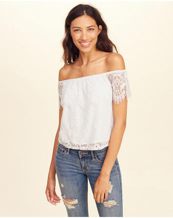 hol Lace Off-The-Shoulder Top