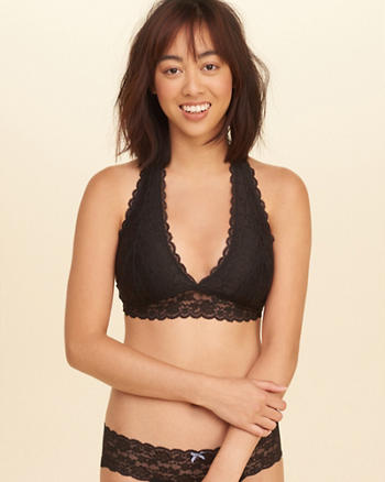 Strappy Lace Halter Bralette With Removable Pads