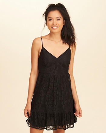 Ruffle Hem Lace Dress