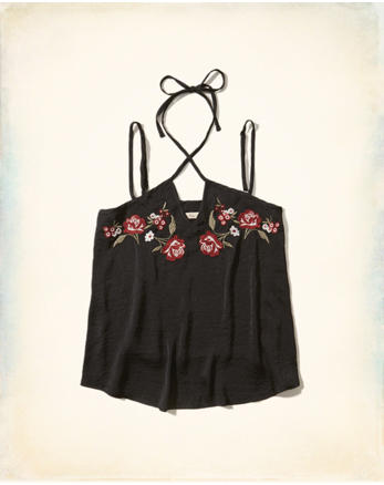 hol Embroidered Satin Top