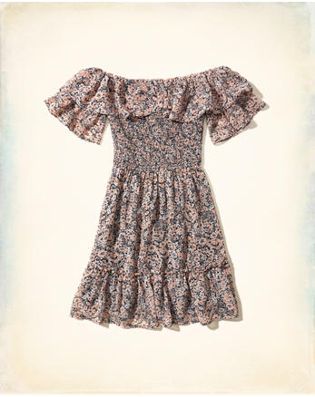 hol Ruffle Off-The-Shoulder Dress