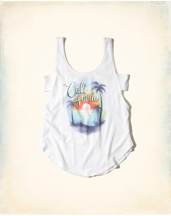 hol Cutout Airbrush Graphic Tank