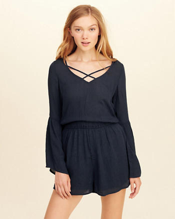 Strappy Bell-Sleeve Romper