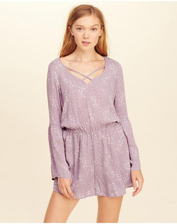 hol Strappy Bell-Sleeve Romper